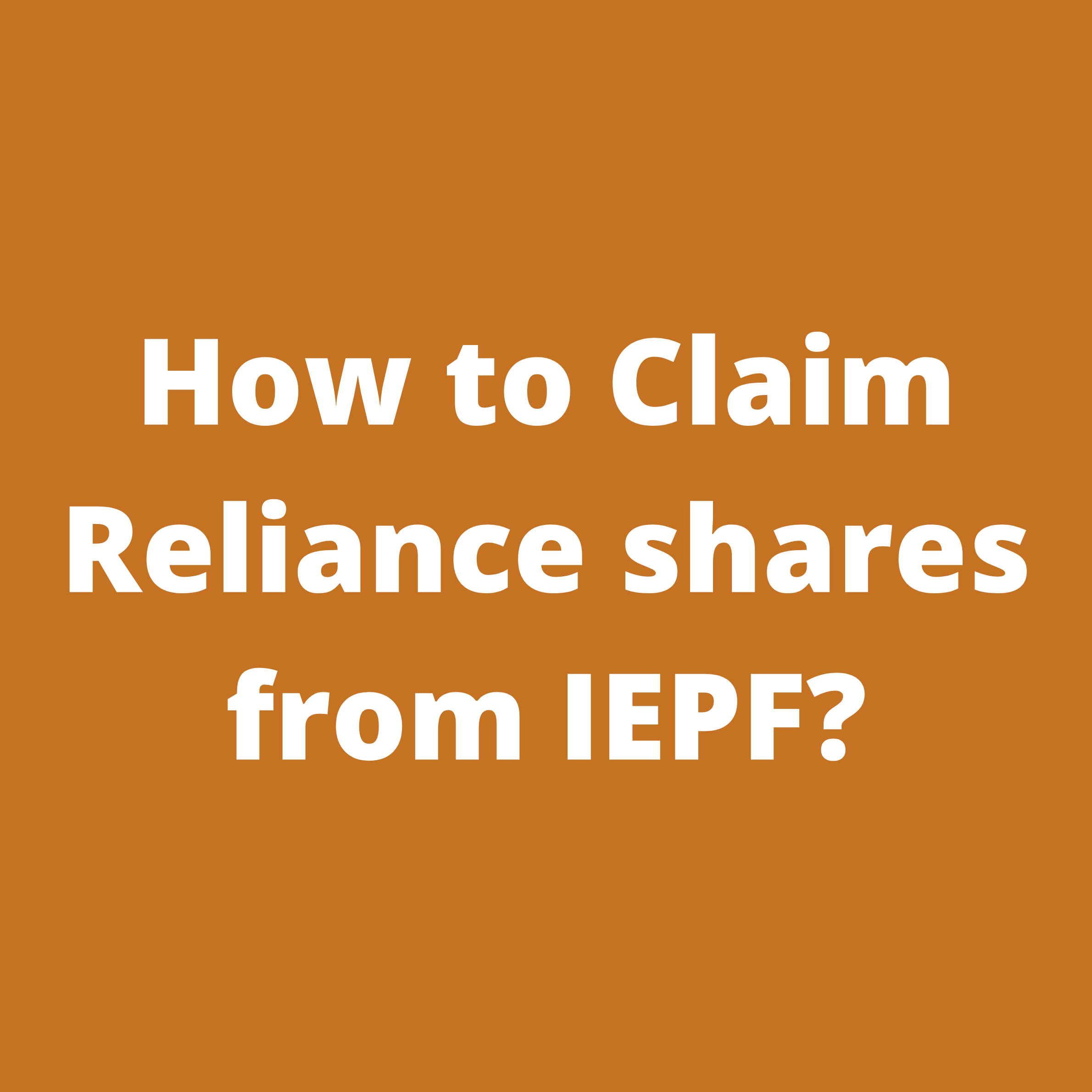 IEPF claim of RELIANCE INDUSTRIES (RIL) shares / unclaimed dividend of RELIANCE INDUSTRIES (RIL) shares